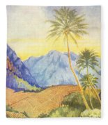 Tropical Vintage Hawaii Fleece Blanket