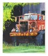 Truck Rusted Fleece Blanket