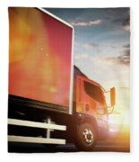 Truck Speeding On The Highway. Transportation Fleece Blanket