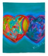 True Blue Hearts Fleece Blanket