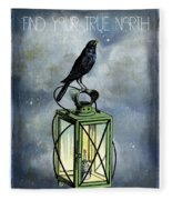 True North Crow Sits On The Night Lantern Fleece Blanket