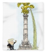 Trump Visits Mexico Fleece Blanket