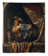 Trumpet Player In Front Of A Banquet 1665 Fleece Blanket