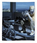 Trumpet Player Playing The Blues Fermin Point Los Angeles In Infrared Fleece Blanket