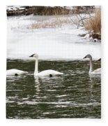 Trumpter Swans Panorama Fleece Blanket