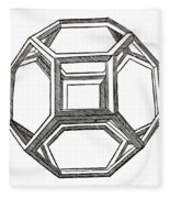 Truncated Octahedron With Open Faces Fleece Blanket