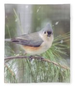 Tufted Titmouse - A Winter Delight Fleece Blanket