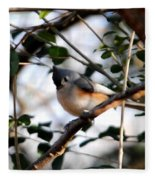 Tufted Titmouse Fleece Blanket