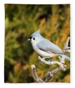 Tufted Titmouse On A Branch Fleece Blanket
