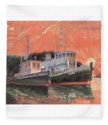 Tug Boats Anchored In Red Sky Fleece Blanket