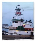 Tugboat At Twilight Fleece Blanket