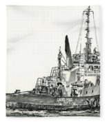 Tugboat David Foss Fleece Blanket