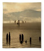 Tugboat In The Mist Fleece Blanket
