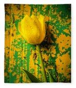 Tulip Against Yellow Green Background Fleece Blanket