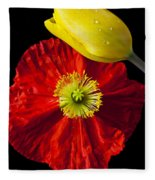 Tulip And Iceland Poppy Fleece Blanket