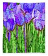 Tulip Bloomies 1 - Purple Fleece Blanket