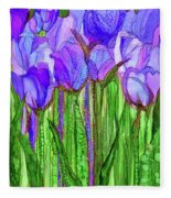 Tulip Bloomies 1 - Purple Fleece Blanket