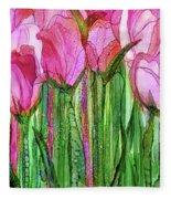 Tulip Bloomies 2 - Pink Fleece Blanket