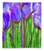 Tulip Bloomies 2 - Purple Fleece Blanket