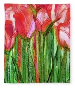 Tulip Bloomies 2 - Red Fleece Blanket