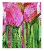 Tulip Bloomies 3 - Pink Fleece Blanket
