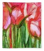 Tulip Bloomies 4 - Red Fleece Blanket