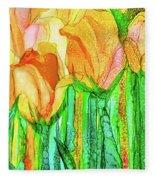 Tulip Bloomies 4 - Yellow Fleece Blanket