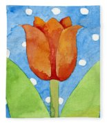 Tulip Blue White Spot Background Fleece Blanket