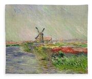 Tulip Field In Holland Fleece Blanket