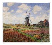 Tulip Fields With The Rijnsburg Windmill Fleece Blanket