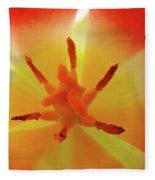 Tulip Inside Flower Orange Tulips Art Prints Baslee Fleece Blanket
