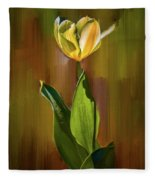 Tulip White Yellow Petals #h5 Fleece Blanket