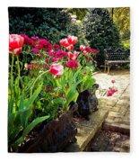 Tulips And Bench Fleece Blanket