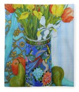Tulips And Iris In A Japanese Vase, With Fruit And Textiles Fleece Blanket