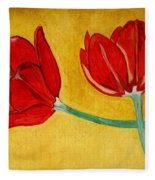 Tulips And Love Happy Together Fleece Blanket