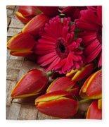 Tulips And Red Daisies  Fleece Blanket