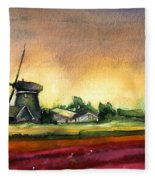 Tulips And Windmill From The Netherlands Fleece Blanket