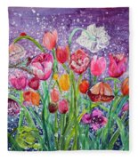 Tulips Are Magic In The Night Fleece Blanket