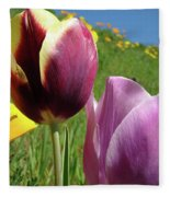Tulips Artwork Tulip Flowers Spring Meadow Nature Art Prints Fleece Blanket