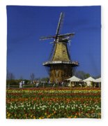 Tulips At The Windmill Fleece Blanket