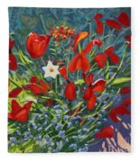 Tulips By The Gate Fleece Blanket