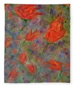 Tulips- Floral Art- Abstract Painting Fleece Blanket