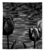 Tulips In Black And White Fleece Blanket