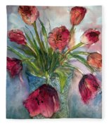 Tulips In Rosie's Vase Fleece Blanket