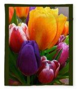 Tulips Smiling Fleece Blanket