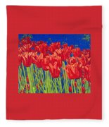 Tulips Tulip Flowers Fine Art Print Giclee High Quality Exceptional Color Garden Nature Botanical Fleece Blanket