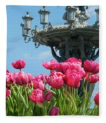 Tulips With Bartholdi Fountain Fleece Blanket