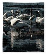 Tundra Swans Fleece Blanket