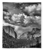 Tunnel View In Black And White Fleece Blanket