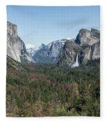 Tunnel View Of Yosemite During Spring Fleece Blanket